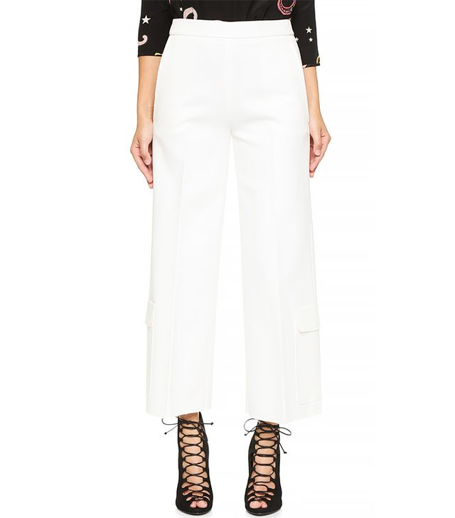MSGM Wide Leg Crop Cargo Pants, White