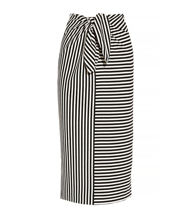 Tibi Ren Striped Cotton-Blend Jersey Skirt, Black/Cream