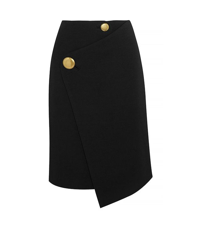 Balenciaga Asymmetric Wool Wrap Skirt