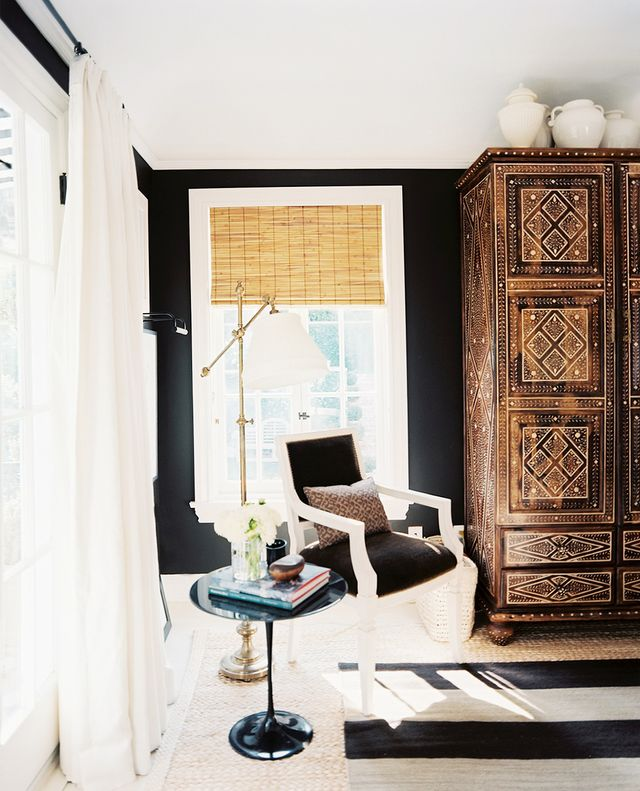 """""""I really dislike rooms with matching furniture sets, especially in a bedroom or dining room (i.e. a dresser should never match bedside tables in a bedroom). A room should be eclectic, a beautiful..."""