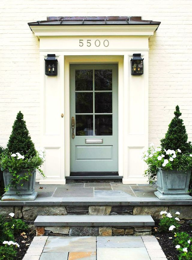 """""""It makes me crazy when people place pots or planters on either side of a door and fill them with small shrubs. When deciding what to use in a planter, think about what you want it to look..."""
