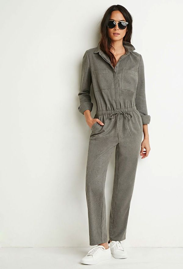 Forever 21 Brushed Twill Utility Jumpsuit
