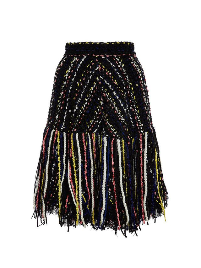 MSGM Multicolored Tweed Fringe Skirt