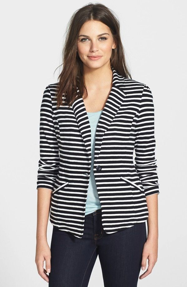 Caslon Knit One-Button Blazer