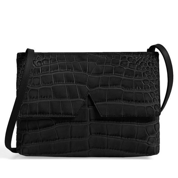 Vince Small Croc Embossed Leather Crossbody Bag