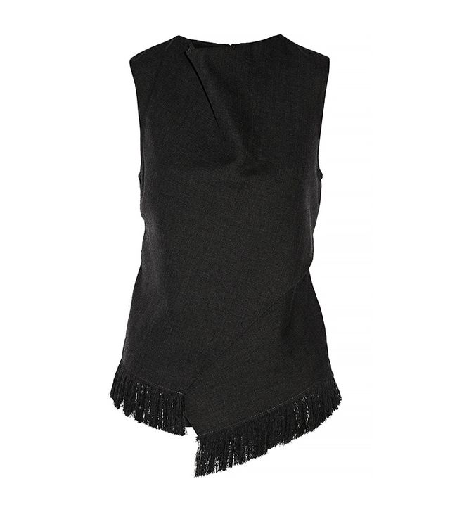 3.1 Phillip Lim Fringed Wool and Silk Wrap Effect Top
