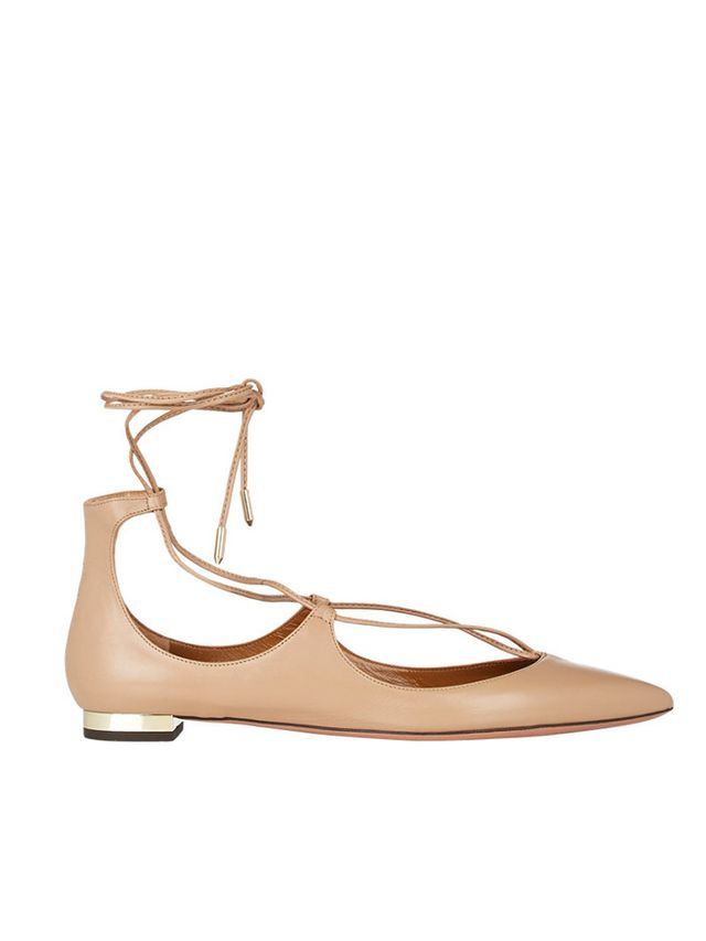 Aquazzura Christy Lace-Up Flats