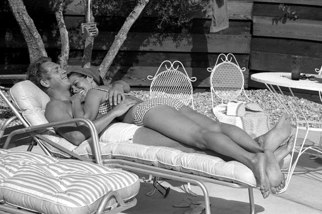 Steve McQueen and his first wife, Neile Adams, take in the Palm Springs sunshine.