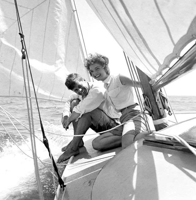 Pure Americana: John F. Kennedy and then-fiancé Jacqueline Bouvier sailing the 'Victura' off the coast of Hyannis Port, Massachusetts in crisp whites.