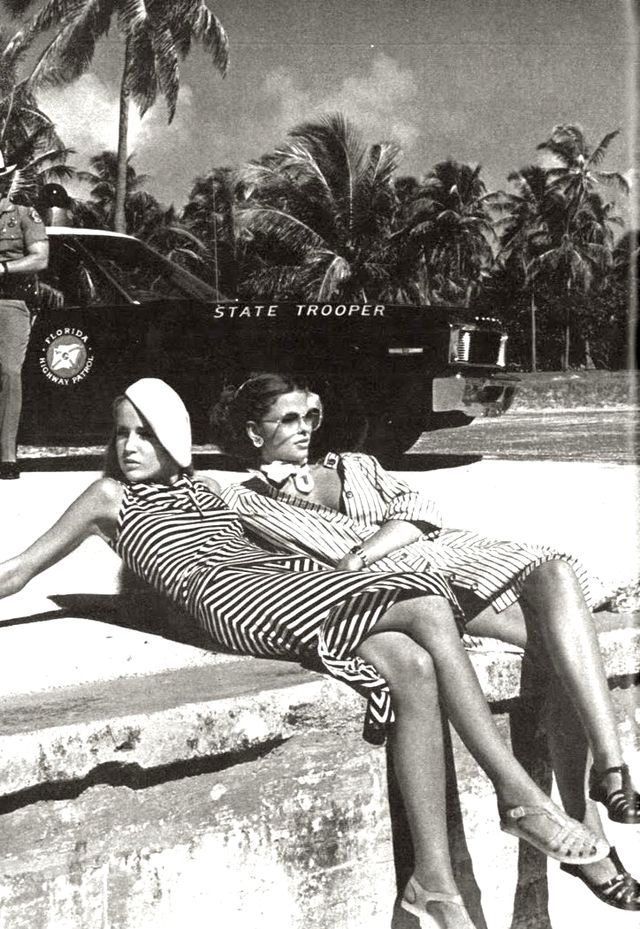 Stripes, berets, sunnies, oh my. This lounging duo embodies the slinky ease of vacationing.