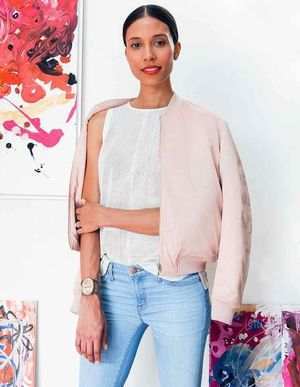 See How This Stylish Mom Wears a Pink Bomber Jacket