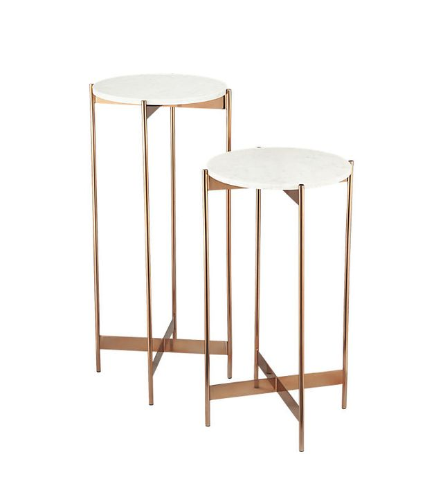 CB2 Marble-Rose Gold Pedestal Tables
