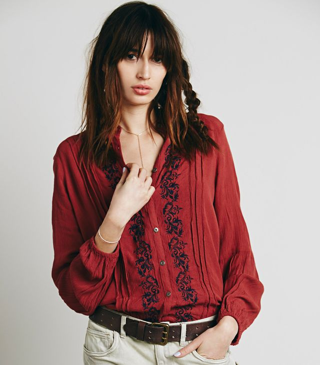 Free People Embroidered Button Down