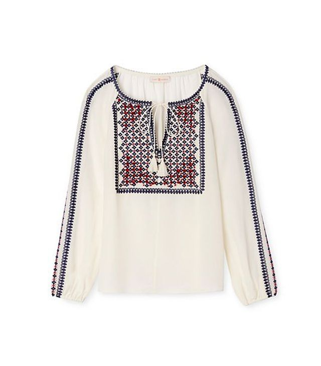 Tory Burch,Zara Embroidered Silk Peasant Top