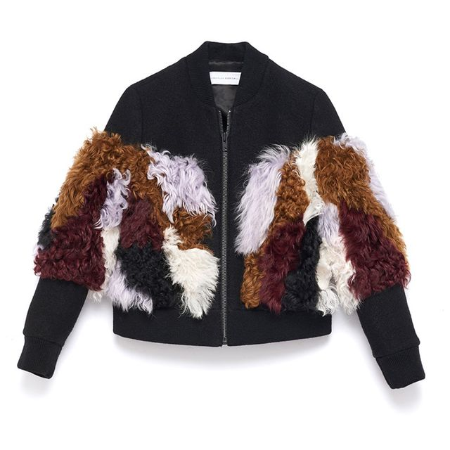 Loeffler Randall Wool and Shearling Bomber