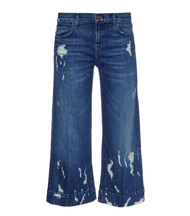J Brand Liza Wide-Leg Distressed Culottes