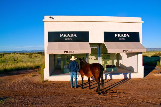 Gray Malin Cowboy and Mule at Marfa Prada Photograph