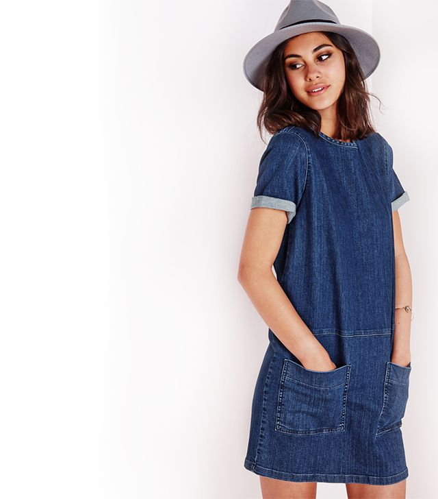 Missguided Pocket Detail Denim Dress