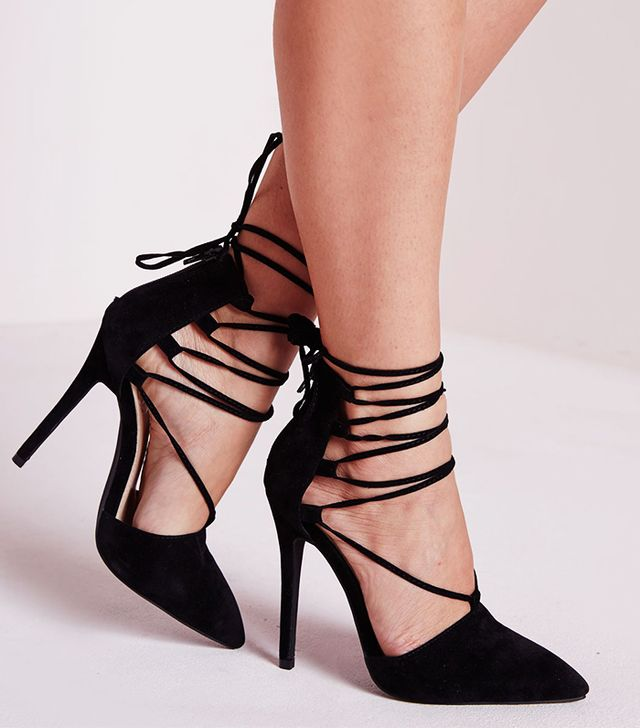 Missguided Lace Up Pointed Toe Court Shoe