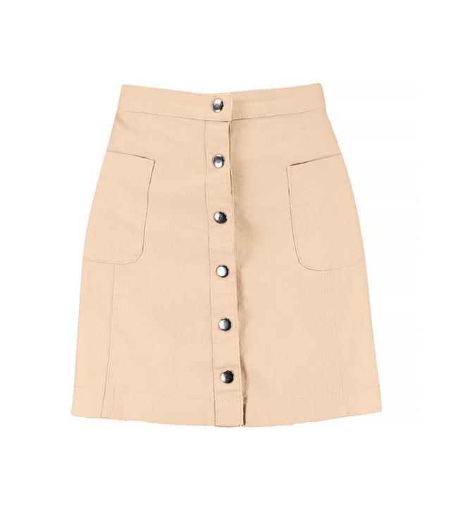Boohoo Blue Bella Button Front Mini Skirt