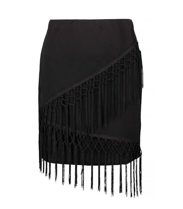 Boohoo Laura Fringe A-Line Mini Skirt