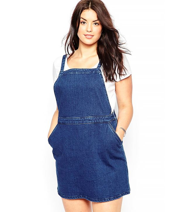 ASOS Curve Denim A-Line Pinafore Dress