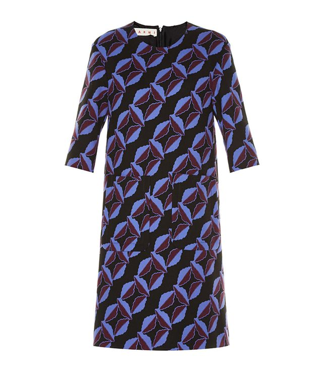 Marni Floral-Print Wool-Cady Dress