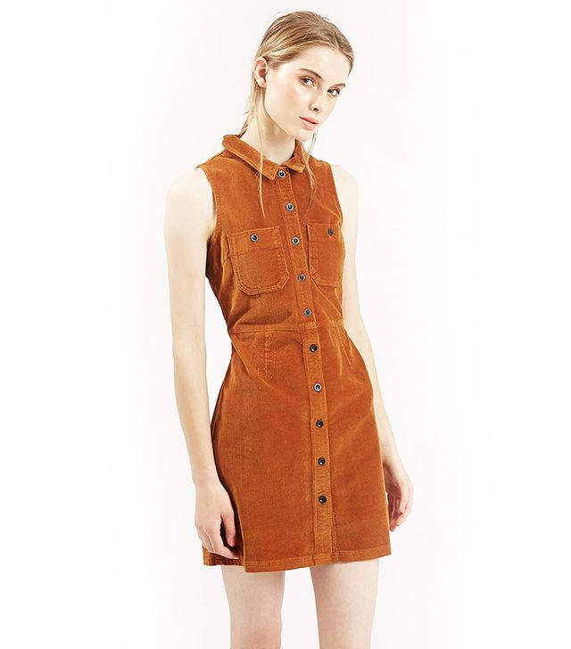 Topshop Cord Button Front Dress