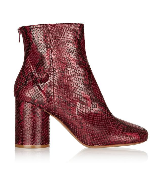 Maison Margiela Snake-Effect Leather Ankle Boots