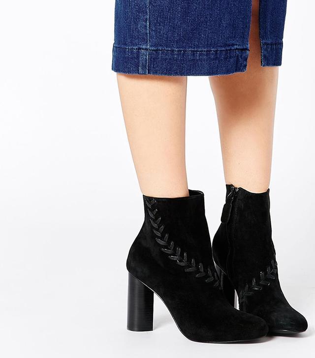 Senso Sara Black Suede Heeled Ankle Boots