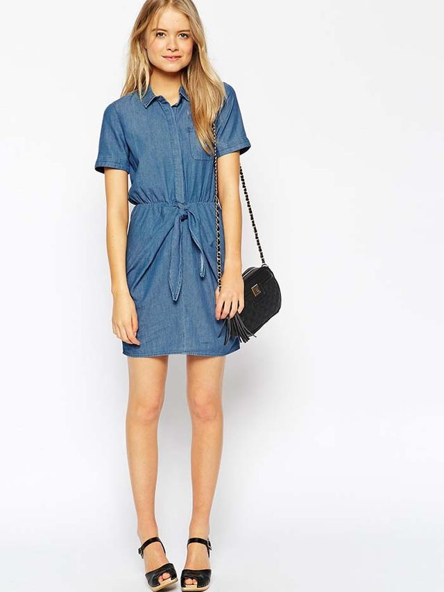 ASOS Denim Tie Front Shirt Dress in Light Stonewash Blue
