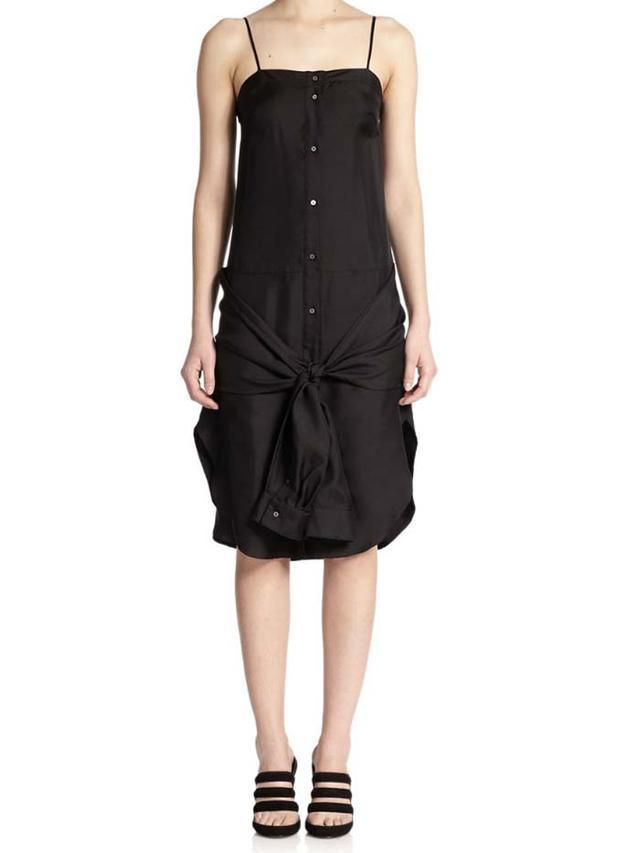 T by Alexander Wang Silk Tie-Front Dress