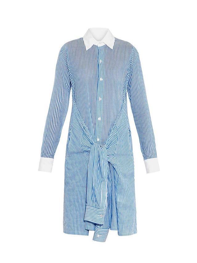Yohji Yamamoto Regulation Striped Sleeve-Tie Cotton Shirtdress