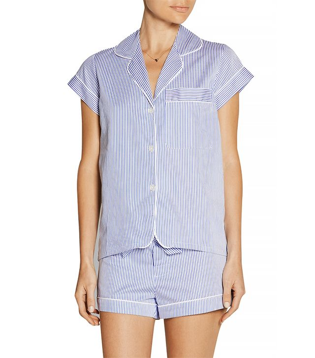 Bodas Striped Seersucker Cotton Pajama Top