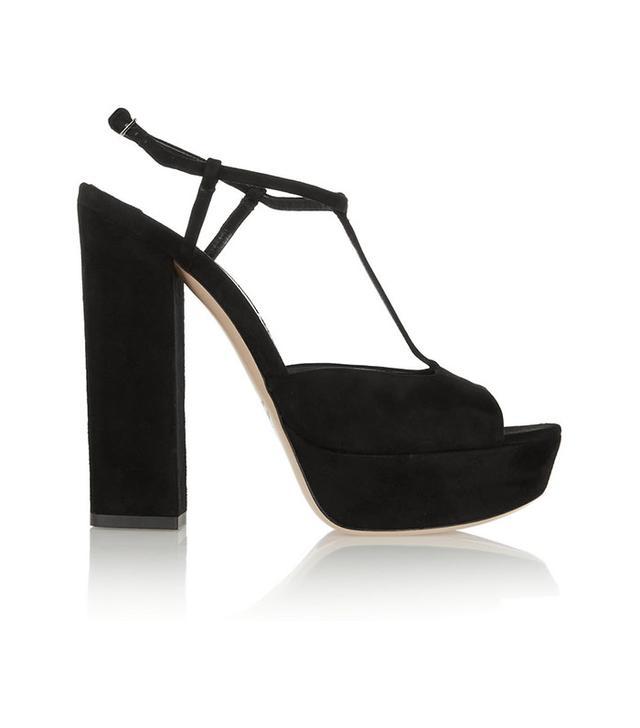 Miu Miu Suede T-Bar Platform Sandals