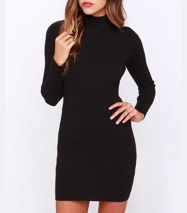 Minkpink Ribbed Skivvy Black Bodycon Sweater Dress
