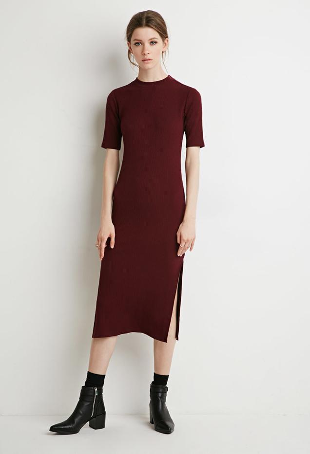 Forever 21 Ribbed Side-Slit Midi Dress