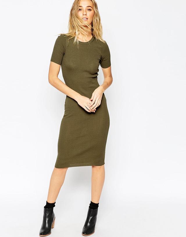ASOS Ribbed Knit Midi Dress