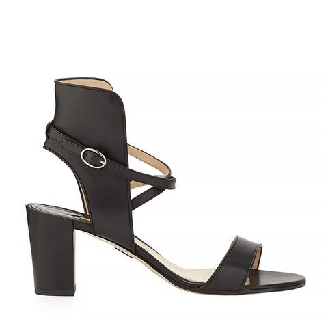 Leather Crisscross Ankle-Cuff Sandals
