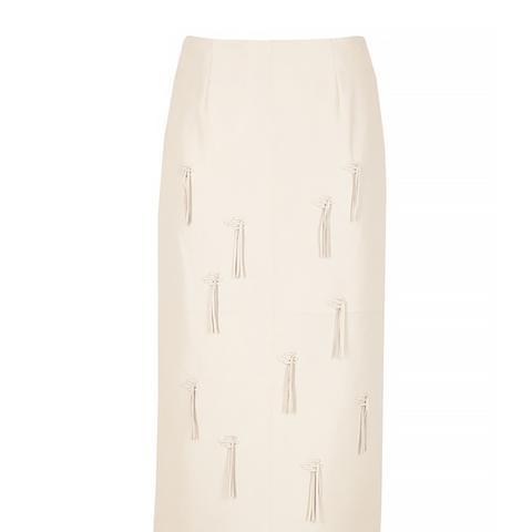 Leather Fringe Pencil Skirt