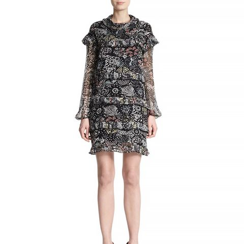Garden-Print Silk Ruffle Dress