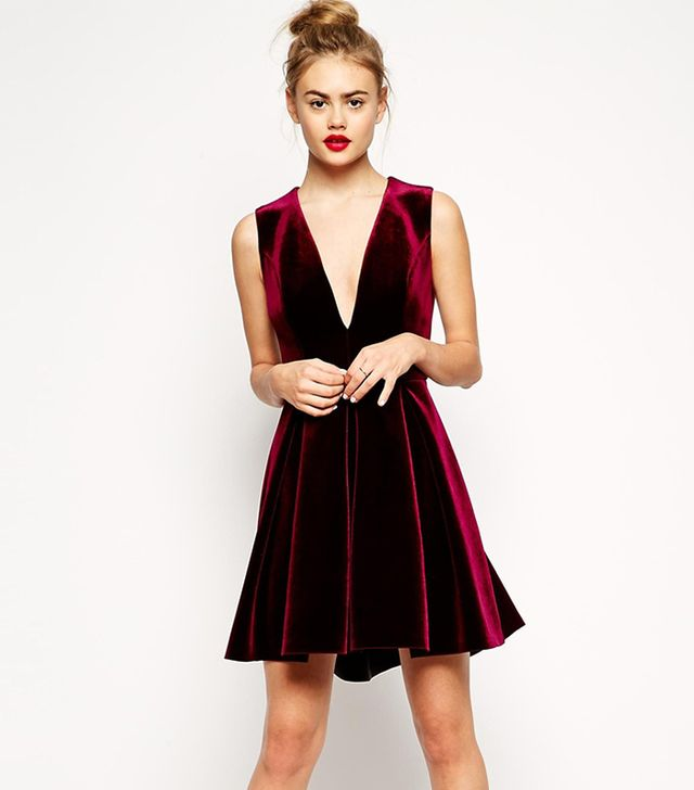 ASOS Bonded Velvet Deep Plunge Skater Dress