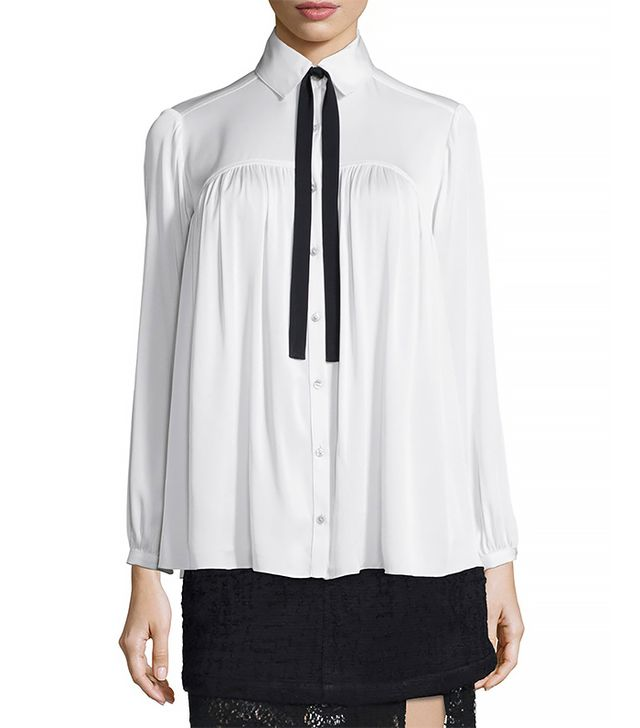Marissa Webb Esther Tie-Neck Flowy Blouse