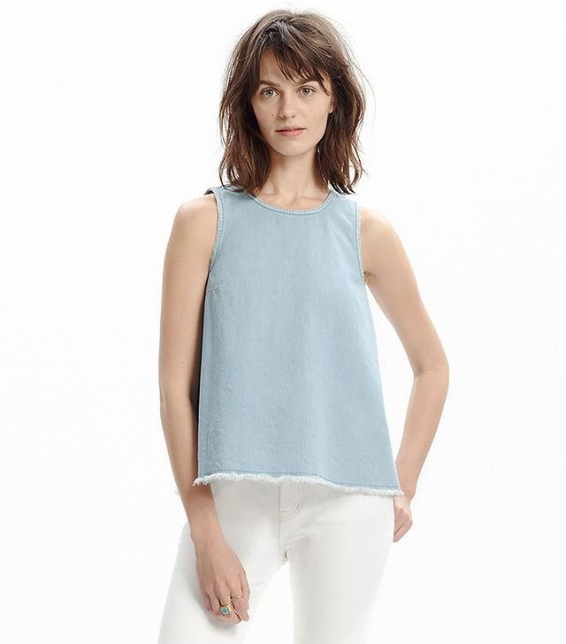 Madewell Raw-Edged Cutout Denim Tank Top