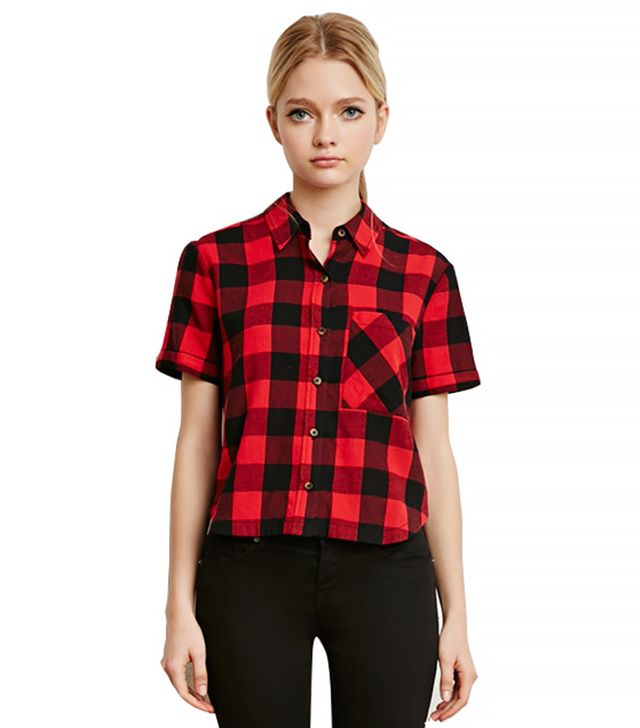 Forever 21 Boxy Gingham Plaid Shirt