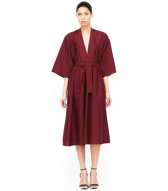 Tome Plum Cotton Poplin V Neck Dress with Side Sash