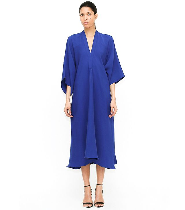 Tome Cobalt Silk Crepe V Neck Dress with Side Sash