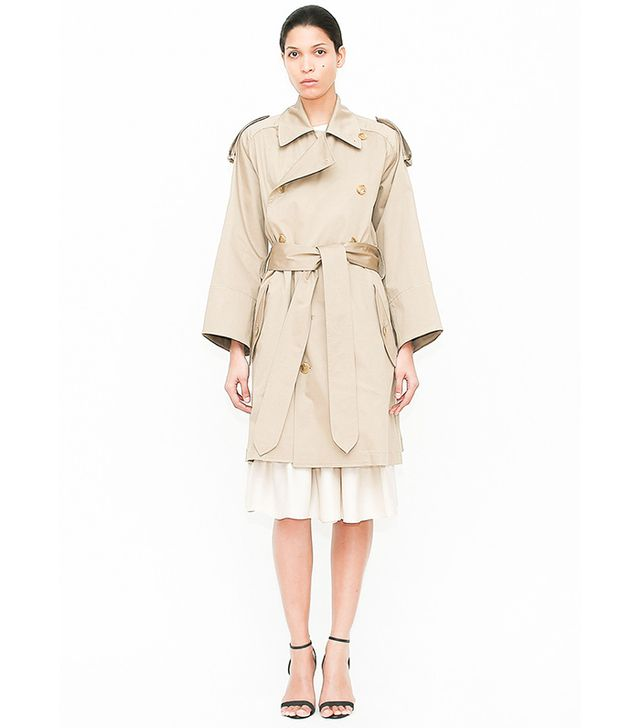 Tome Beige Short Oversized Trenchcoat