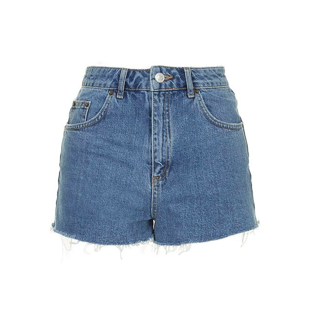 Topshop Blue Denim Mum Shorts