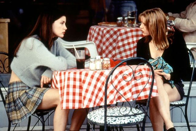 In this other Liv Tyler gem, she plays a record-store employee named Corey alongside Renée Zellweger's Gina. Both ladies rock miniskirts with cardigans, a nod to the...